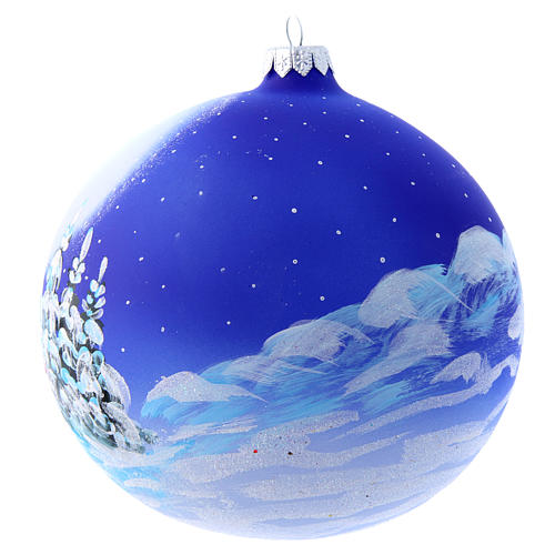 Blown glass Christmas tree ball with Father Christmas on sledge 150 mm 3