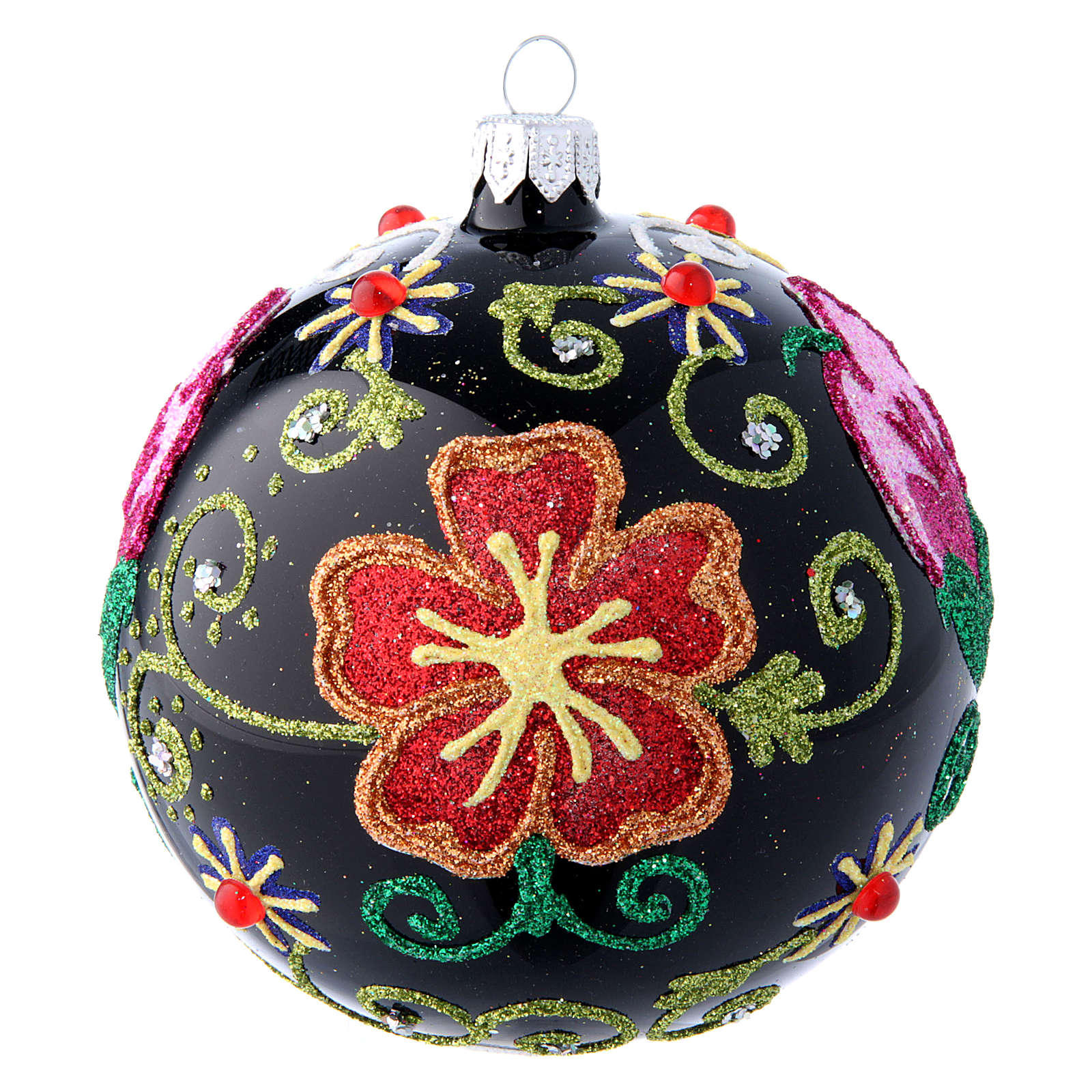 Shiny glass ball coloured in black with flower decorations 100 mm 4