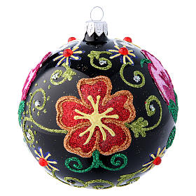 Shiny glass ball coloured in black with flower decorations 100 mm s1