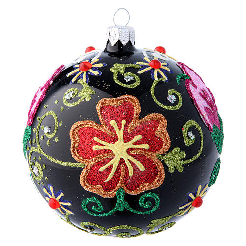 Shiny glass ball coloured in black with flower decorations 100 mm 1