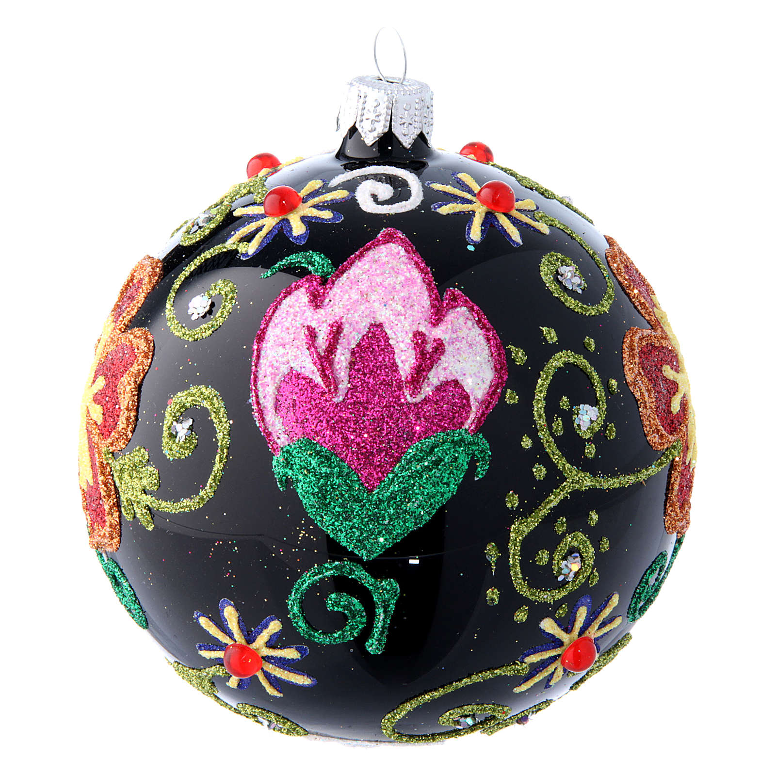 Shiny Glass Christmas Ball in black with flower decorations 100 mm 4