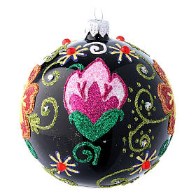Shiny Glass Christmas Ball in black with flower decorations 100 mm s2