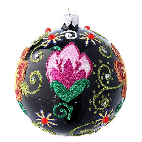 Shiny Glass Christmas Ball in black with flower decorations 100 mm 2