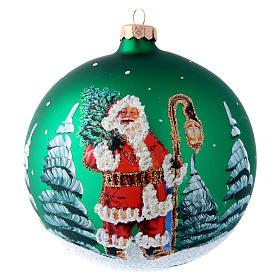 Christmas balls: Green glass ball with Father Christmas illustration decoupage 150 mm