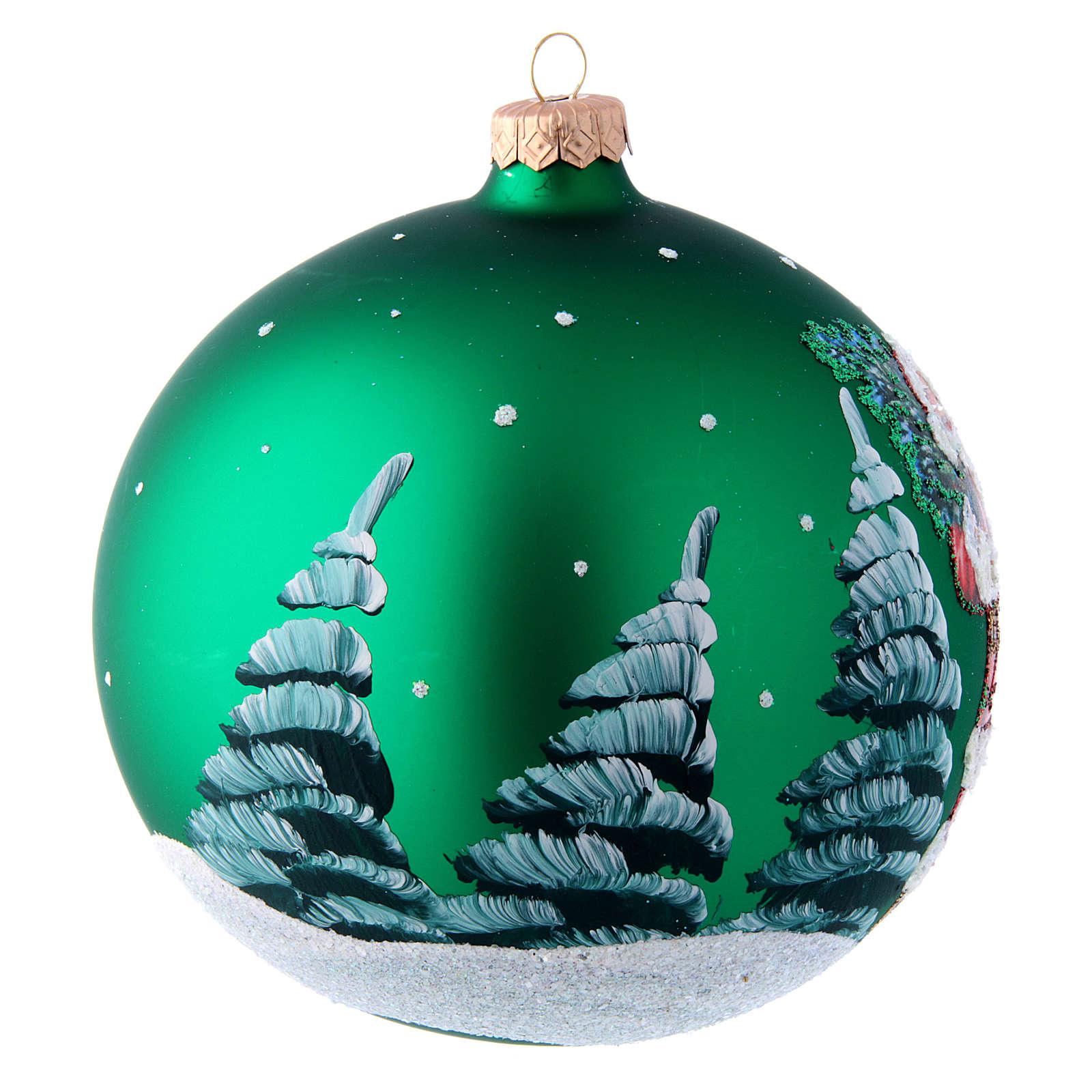Palla in vetro verde con Babbo Natale decoupage 150 mm 4