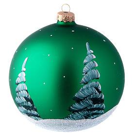 Palla in vetro verde con Babbo Natale decoupage 150 mm s2