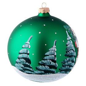 Palla in vetro verde con Babbo Natale decoupage 150 mm s3