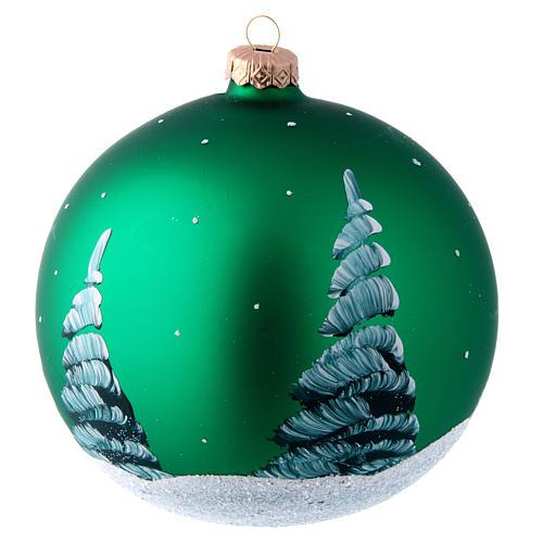 Palla in vetro verde con Babbo Natale decoupage 150 mm 2