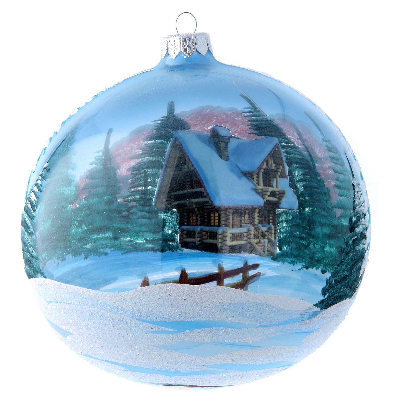 Weihnachtsbaumkugel aus transparentem Glas Motiv schneebedeckte Winterlandschaft 150 mm 4
