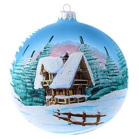 Weihnachtsbaumkugel aus transparentem Glas Motiv schneebedeckte Winterlandschaft 150 mm s1