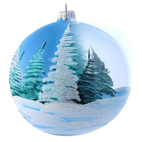 Weihnachtsbaumkugel aus transparentem Glas Motiv schneebedeckte Winterlandschaft 150 mm 2