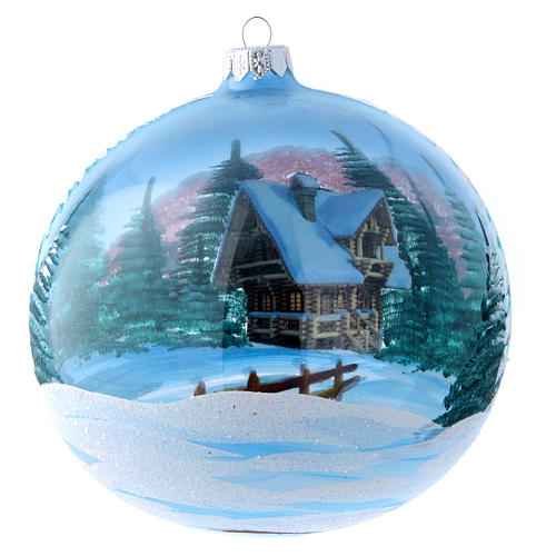 Transparent glass ball with painted and decoupage decorations 150 mm 3