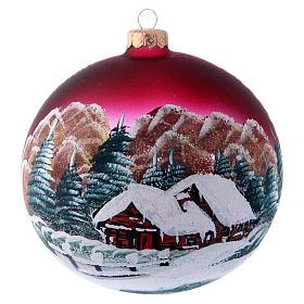 Tannenbaumkugeln: Weihnachtsbaumkugel aus Glas Grundton Bordeaux Motiv Winterlandschaft 150 mm