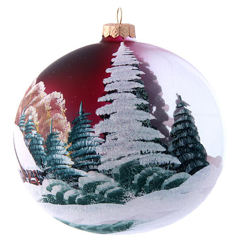 Burgundy glass Christmas ball with landscape 150 mm 2