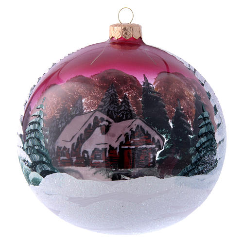 Burgundy glass Christmas ball with landscape 150 mm 3