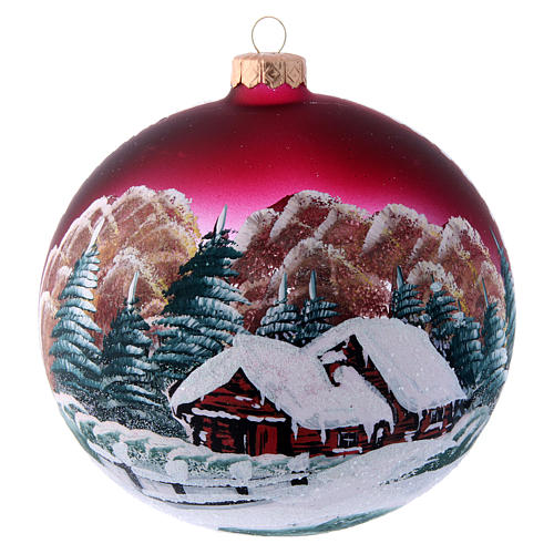 Burgundy glass Christmas ball with landscape 150 mm 1