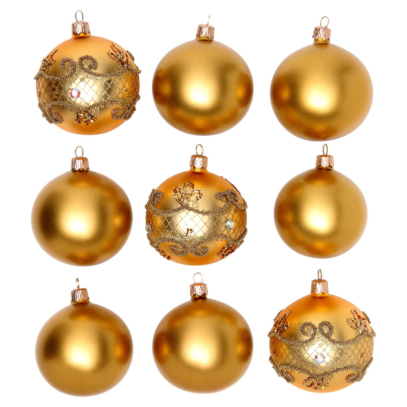 Bolas para Árbol de Navidad 80 mm caja 9 piezas surtidas vidrio soplado oro 4
