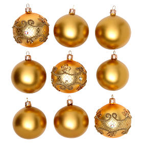 Bolas para Árbol de Navidad 80 mm caja 9 piezas surtidas vidrio soplado oro s1