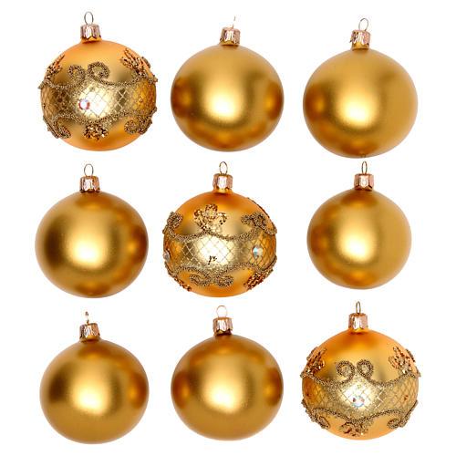 Bolas para Árbol de Navidad 80 mm caja 9 piezas surtidas vidrio soplado oro 1