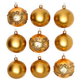 Boules de Noël: Boules verre soufflé or 80 mm boîte 9 pcs diff. modèles
