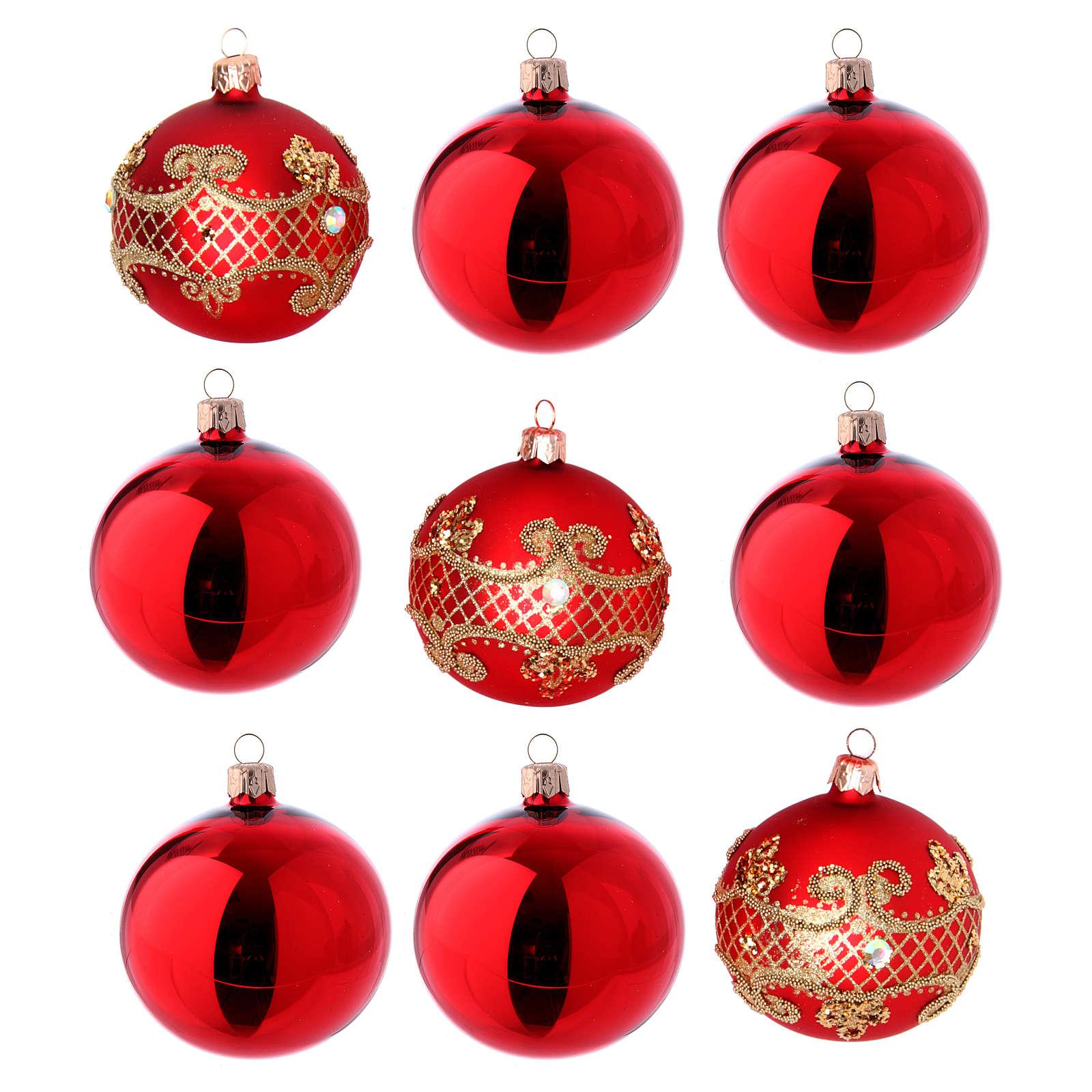 Bolas para Árbol de Navidad vidrio rojo 80 mm caja 9 piezas surtidas 4
