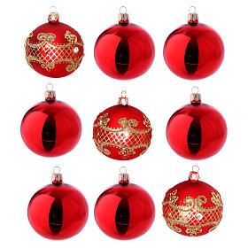 Bolas para Árbol de Navidad vidrio rojo 80 mm caja 9 piezas surtidas s1