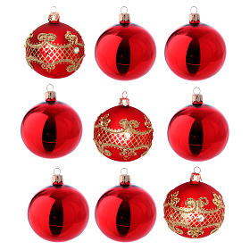 Christmas bauble red glass 80 mm set of 9 pieces assorted decorations s1