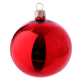 Christmas bauble red glass 80 mm set of 9 pieces assorted decorations s2