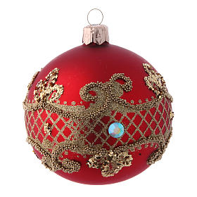 Christmas bauble red glass 80 mm set of 9 pieces assorted decorations s3