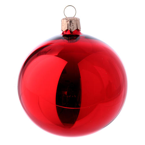 Christmas bauble red glass 80 mm set of 9 pieces assorted decorations 2