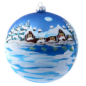 Blue glass Christmas ball with child 150 mm s1