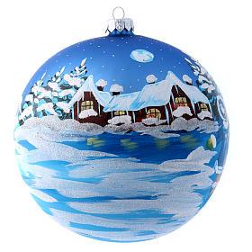 Boule bleue verre 150 mm Père Noël avec enfant s1