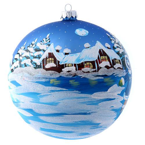 Boule bleue verre 150 mm Père Noël avec enfant 1