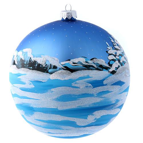 Boule bleue verre 150 mm Père Noël avec enfant 2