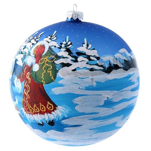 Boule bleue verre 150 mm Père Noël avec enfant 3