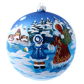 Bola azul vidro 150 mm Pai Natal com menino s4