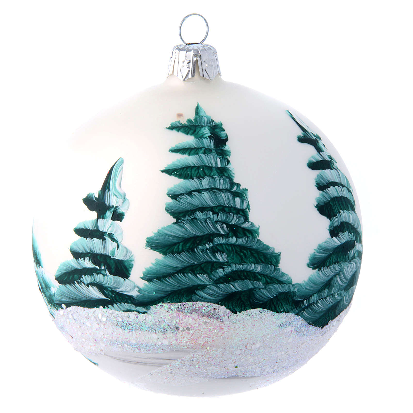 White shiny Christmas ball sized 100 mm in glass decoupage 4