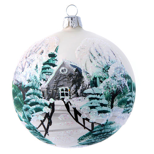 White shiny Christmas ball sized 100 mm in glass decoupage 1