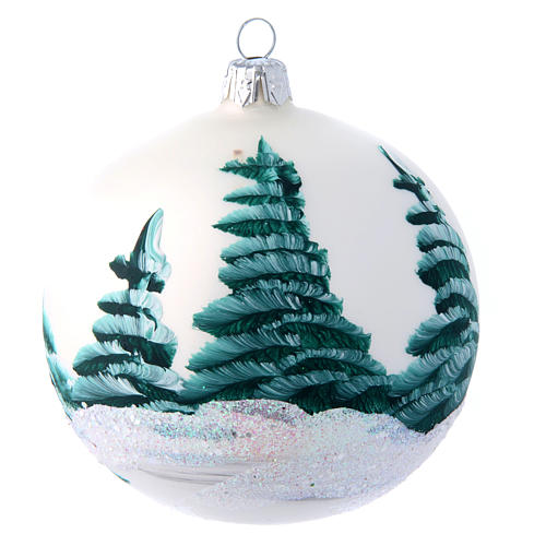 White shiny Christmas ball sized 100 mm in glass decoupage 2