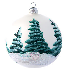 White shiny Christmas ball sized 100 mm in glass decoupage s2