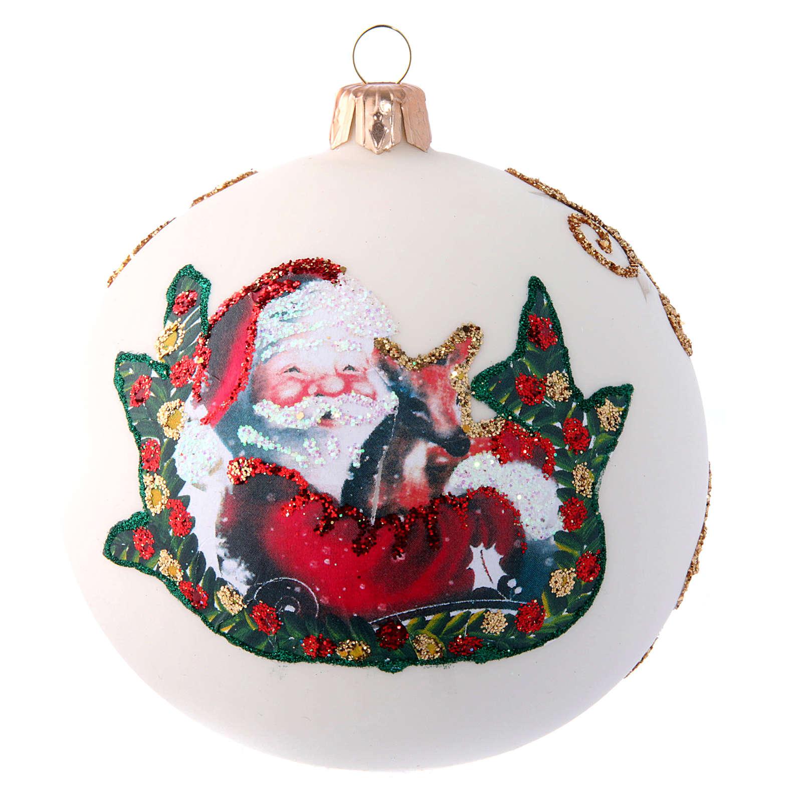 Glass Christmas ball with Father Christmas illustration 100 mm 4