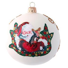 Glass Christmas ball with Father Christmas illustration 100 mm s1