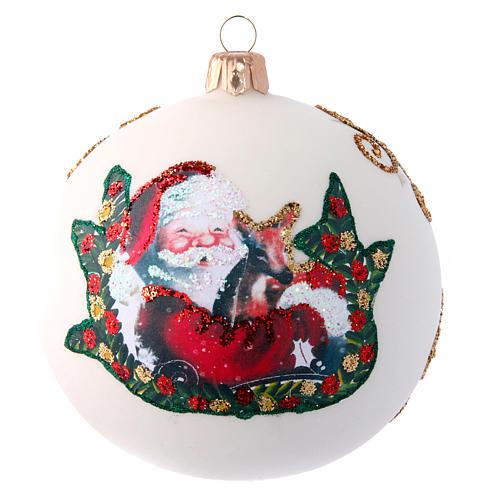 Glass Christmas ball with Father Christmas illustration 100 mm 1