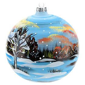 Boule Noël paysage hivernal 150 mm s3