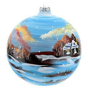 Boule Noël paysage hivernal 150 mm s4