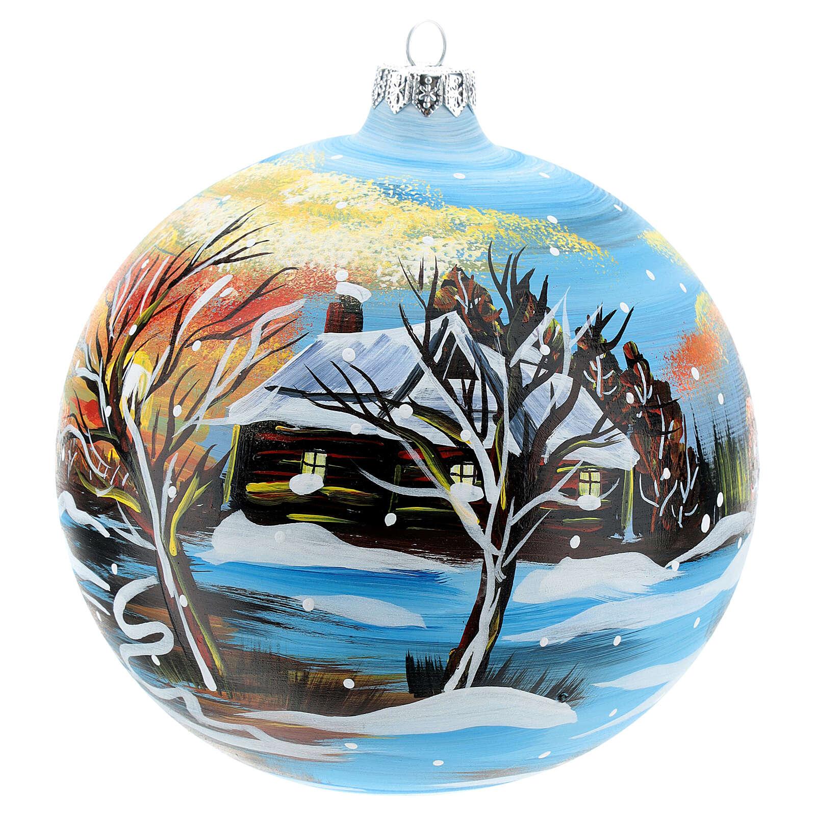 Pallina natalizia paesaggio invernale 150 mm 4