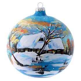 Pallina natalizia paesaggio invernale 150 mm s1