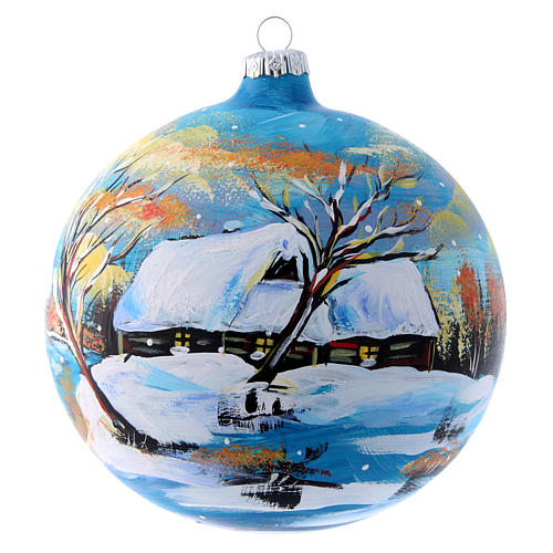 Pallina natalizia paesaggio invernale 150 mm 1