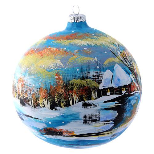 Pallina natalizia paesaggio invernale 150 mm 2