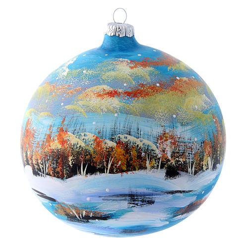 Pallina natalizia paesaggio invernale 150 mm 3